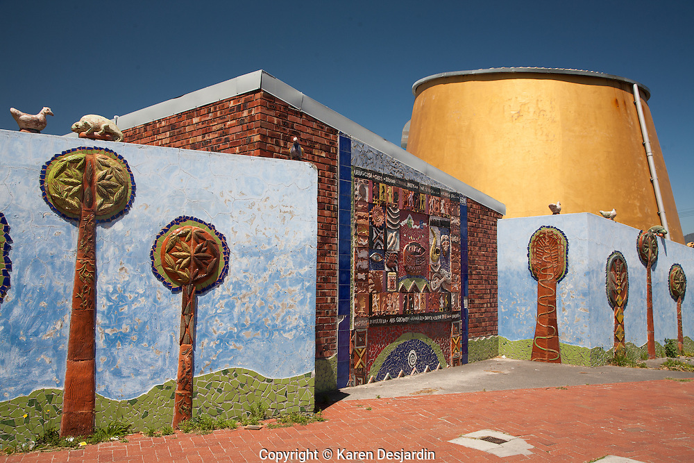 Guga S'Thebe Arts & Culture Centre in Langa, Cape Town's oldest township, established in 1923. The buildings are designed to resemblea traditional settlement and the golden cone is a contemporary take on an African hut.