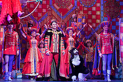"© Licensed to London News Pictures. 08/12/2011. London, England. Sam Attwater (centre), Dancing on Ice 2011 Winner, stars as Dick Whittington. Dick Whittington panto starring Dame Edna Everage (Barry Humphries) as the ""Saviour of London"" opens at the New Wimbledon Theatre, London. The show, written and directed by Eric Potts is scheduled to run to 15 January 2012. Photo credit: Bettina Strenske/LNP"