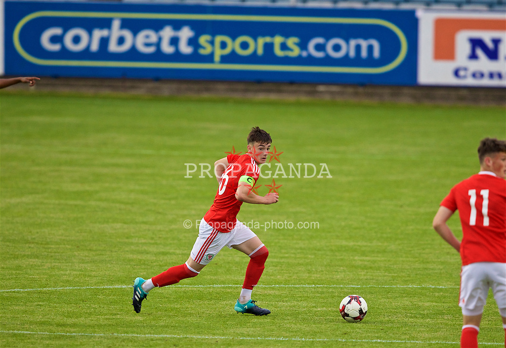 RHYL, WALES - Monday, September 4, 2017: Wales' captain Dylan Levitt during an Under-19 international friendly match between Wales and Iceland at Belle Vue. (Pic by Paul Greenwood/Propaganda)