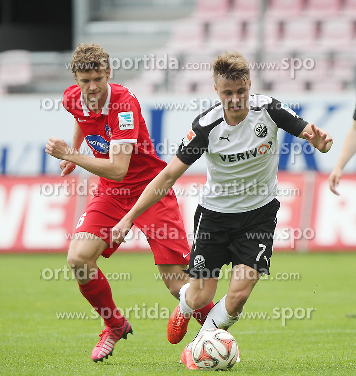 03.05.2015, Hardtwald, Sandhausen, GER, 2. FBL, SV Sandhausen vs 1. FC Heidenheim, 31. Runde, im Bild Marco Thiede (SV Sandhausen) im Zweikampf mit Tim Goehlert (1.FC Heidenheim 1846 e.V.) // during the 2nd German Bundesliga 31th round match between SV Sandhausen and 1. FC Heidenheim at the Hardtwald in Sandhausen, Germany on 2015/05/03. EXPA Pictures &copy; 2015, PhotoCredit: EXPA/ Eibner-Pressefoto/ Bermel<br /> <br /> *****ATTENTION - OUT of GER*****