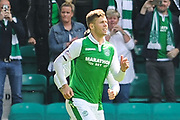 Florian Kamberi celebrates penalty goal during the Ladbrokes Scottish Premiership match between Hibernian and Rangers at Easter Road, Edinburgh, Scotland on 13 May 2018. Picture by Kevin Murray.