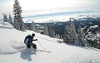 Adam Meyer skiing Beard Mountain, Jedediah Smith Wilderness, Wyoming.