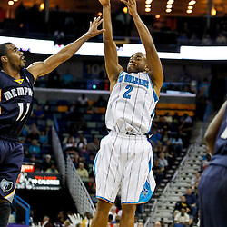 December 21, 2011; New Orleans, LA, USA; New Orleans Hornets point guard Jarrett Jack (2) shoots over Memphis Grizzlies point guard Mike Conley (11) during a preseason game at the New Orleans Arena.   Mandatory Credit: Derick E. Hingle-US PRESSWIRE