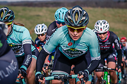 Group with rider of Colavita/Bianchi on the VAM-berg during the UCI Women's WorldTour Ronde van Drenthe at Drenthe, The Netherlands, 11 March 2017. Photo by Pim Nijland / PelotonPhotos.com | All photos usage must carry mandatory copyright credit (Peloton Photos | Pim Nijland)