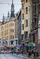 RIGA, LATVIA - CIRCA MAY 2014: View of Marijas iela street in the center of Riga.