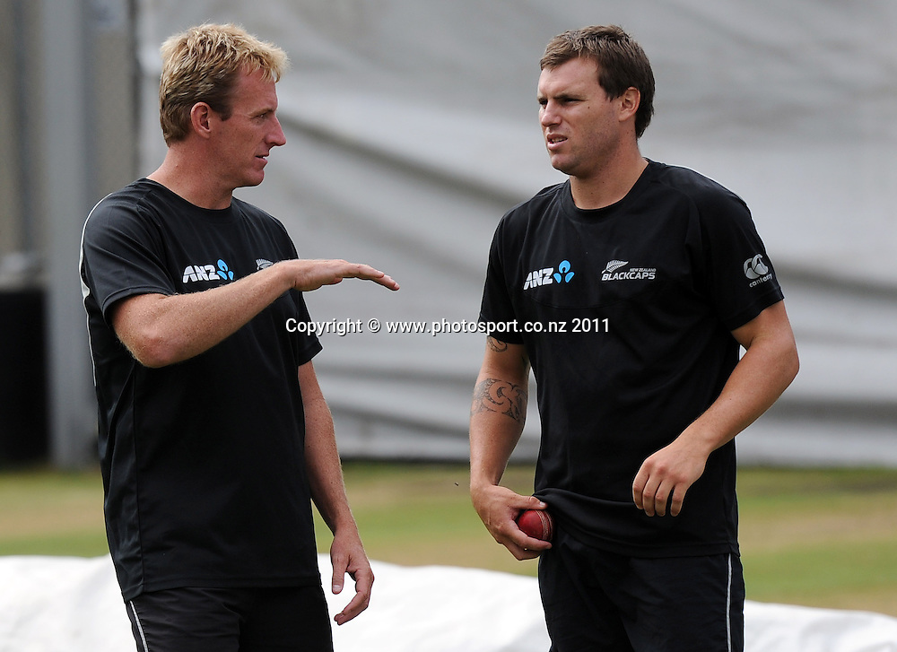 Bowling coach Damian Martin talks to Doug Bracewell at trainin ahead of the second cricket test match versus Australia in Hobart. Wednesday 7 December 2011. Photo: Andrew Cornaga/Photosport.co.nz