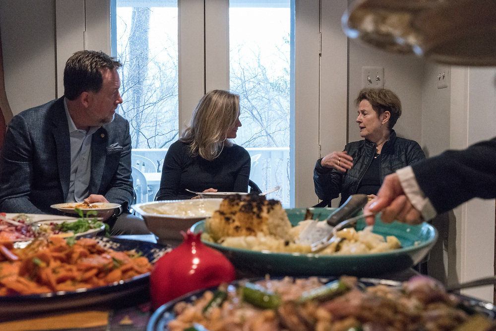 Sips and Suppers brunch at Joan Nathan's house in Washington DC Jan 25, 2018. Guest's talked about how and why Sips and Suppers got started and how it continues to help feed the poor via Martha's Table and DC Kitchen with located in Washington DC.