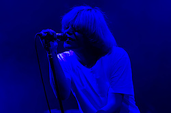 """© Licensed to London News Pictures. 08/06/2012. London, UK. The Charlatans perform live at Hammersmith Apollo, playing their 1997 and fifth studio album """"Telling' Stories"""" in its entirety.  In this photo - Tim Burgess.  Photo credit : Richard Isaac/LNP"""