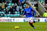 James Tavernier (#2) of Rangers on the ball during the Ladbrokes Scottish Premiership match between Hibernian and Rangers at Easter Road, Edinburgh, Scotland on 19 December 2018.
