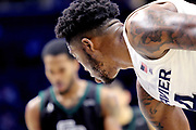 Xavier forward Tyrique Jones (4) waits for a Green Bay player to shoot a free throw during an NCAA college basketball game, Wednesday, Dec. 4, 2019, in Cincinnati. Xavier defeated Green Bay 84-71 (Jason Whitman/Image of Sport)