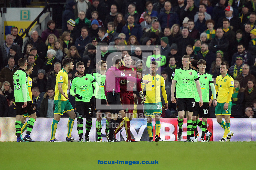 Matt Doherty of Wolverhampton Wanderers is fouled by Ivo Pinto of Norwich in the box and a penalty is awarded to Wolves during the Sky Bet Championship match at Carrow Road, Norwich<br /> Picture by Paul Chesterton/Focus Images Ltd +44 7904 640267<br /> 21/01/2017