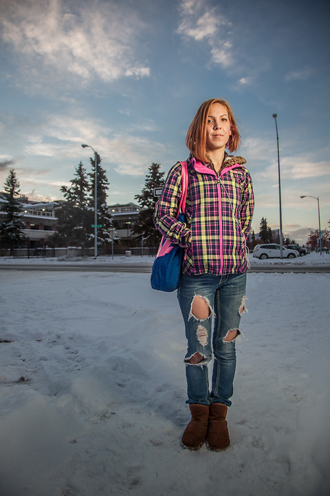 "Pre-school teacher and cancer survivor Cherie Kasgnoc on the Delaney Park Strip, Anchorage.  ""Cancer has taught me to take one day at a time and to not take life for granted…it can be taken in a heart beat.""  ckasgnoc@gmail.com"