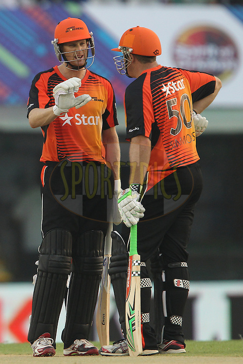 Adam VOGES (Captain) of the Perth Scorchers  and Craig SIMMONS of the Perth Scorchers  during match 4 of the Oppo Champions League Twenty20 between the Dolphins and the Perth Scorchers held at the Punjab Cricket Association Stadium, Mohali, India on the 20th September 2014<br /> <br /> Photo by:  Ron Gaunt / Sportzpics/ CLT20<br /> <br /> <br /> Image use is subject to the terms and conditions as laid out by the BCCI/ CLT20.  The terms and conditions can be downloaded here:<br /> <br /> http://sportzpics.photoshelter.com/gallery/CLT20-Image-Terms-and-Conditions-2014/G0000IfNJn535VPU/C0000QhhKadWcjYs