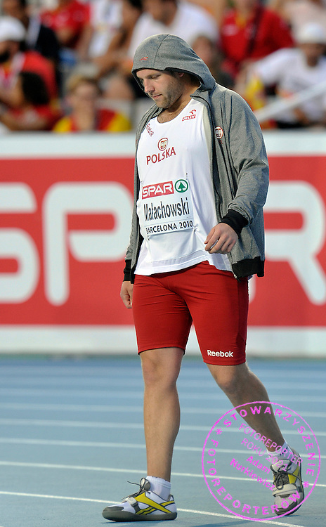 PIOTR MALACHOWSKI (POLAND) WHILE THE MEN'S DISCUS FINAL DURING THE 2010 EUROPEAN ATHLETICS CHAMPIONSHIPS AT OLYMPIC STADIUM IN BARCELONA, SPAIN...SPAIN , BARCELONA , AUGUST 1, 2010..( PHOTO BY ADAM NURKIEWICZ / MEDIASPORT )..PICTURE ALSO AVAIBLE IN RAW OR TIFF FORMAT ON SPECIAL REQUEST.