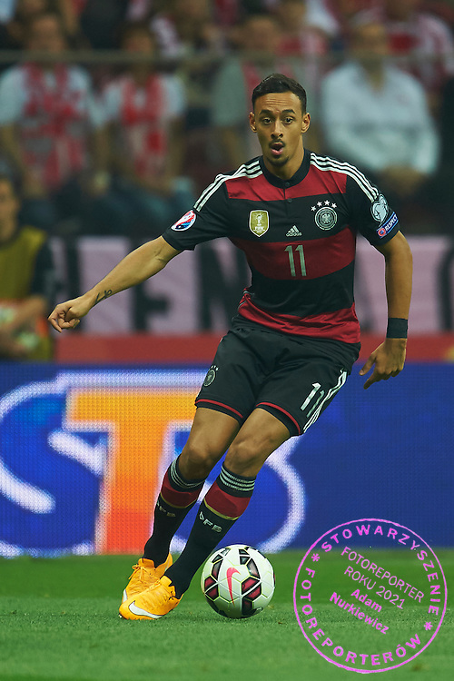 German's Karim Bellarabi controls the ball during the EURO 2016 qualifying match between Poland and Germany on October 11, 2014 at the National stadium in Warsaw, Poland<br /> <br /> Picture also available in RAW (NEF) or TIFF format on special request.<br /> <br /> For editorial use only. Any commercial or promotional use requires permission.<br /> <br /> Mandatory credit:<br /> Photo by &copy; Adam Nurkiewicz / Mediasport