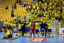 Players of RK Celje Pivovarna Lasko celebrating win after the handball match between RK Celje Pivovarna Lasko (SLO) and Prvo Plinarsko drustvo Zagreb (CRO) in 1st round, group B of EHF Champions League 2016/17 on September 24, 2016 in Arena Zlatorog, Celje, Slovenia. Photo by Ziga Zupan / Sportida