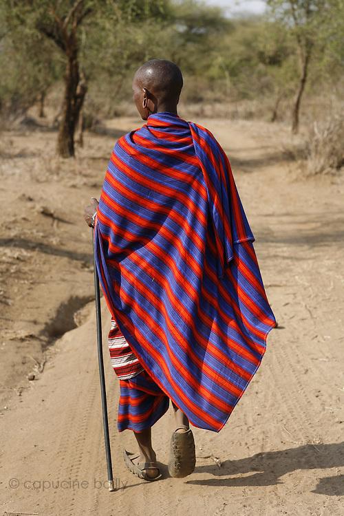 TANZANIA. Longido Mountain Area..August 3rd 2009..A Maasai man.