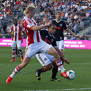 Stoke City F.C. Midfielder BREK SHEA (11) scores a goal in the 18th minute of a MLS regular season international friendly match against the Philadelphia Union Tuesday, July. 30, 2013 at PPL Park in Chester PA.