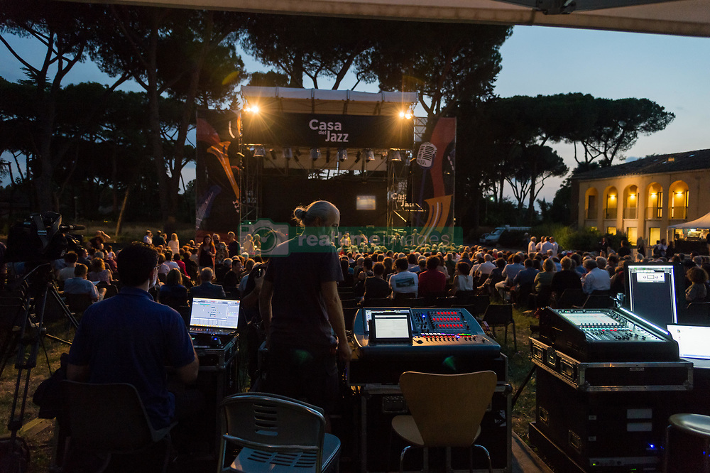 July 2, 2018 - Rome, Italy, Italy - The legendary rock musician has performed, the only Italian date, at the Casa del Jazz in Rome on 2/7/2018 in the musical review 'I Concerti nel Parco'. Nash first with the Hollies then with Crosby, Stills and Young has collected many hits with songs passed to history. With him on stage Shane Fontaine on guitar and Todd Caldwell on keyboards. Mixer and stage  (Credit Image: © Leo Claudio De Petris/Pacific Press via ZUMA Wire)