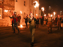 © Licensed to London News Pictures. 04/11/2017. Lewes, UK. People in costume take part in celebrations for the traditional Lewes Bonfire Night celebrations on Saturday, 4 November, 2017. Thousands of people attend the parade through the narrow streets of Lewes and burn effigies to celebrate Guy Fawkes nightalso known as bonfire night, the anniversary of the gunpowder plot to blow up the Houses of Parliament in London. Photo credit: London News pictures