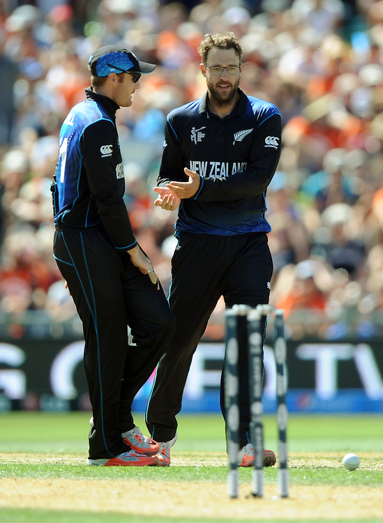 New Zealand's Daniel Vettori takes the wicket of Afghanistan's Mohammd Nabi in the ICC Cricket World Cup at McLean Park, Napier, New Zealand, Sunday, March 08, 2015. Credit:SNPA / Ross Setford