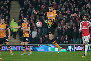 Curtis Davies (Hull City) takes a shot  during the The FA Cup fifth round match between Hull City and Arsenal at the KC Stadium, Kingston upon Hull, England on 8 March 2016. Photo by Mark P Doherty.