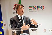 Matteo Renzi, Italian Prime Minister, speaks at a press confrence of French National Day in Expo 2015, Rho-Pero, Milan, June 21, 2015. &copy; Carlo Cerchioli<br /> <br /> Matteo Renzi, Presidente del consiglio italiano, parla alla confrenza stampa della Giornata nazionale francese a Expo 2015, Rho-Pero, 21 giugno 2015.