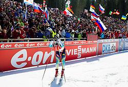 SEMENOV Serhiy of Ukraine in finish area after the Men 12.5 km Pursuit competition of the e.on IBU Biathlon World Cup on Saturday, March 8, 2014 in Pokljuka, Slovenia. Photo by Vid Ponikvar / Sportida