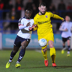 TELFORD COPYRIGHT MIKE SHERIDAN 5/3/2019 - Dan Udoh of AFC Telford battles for the ball with Simon Ainge of Darlington during the National League North fixture between AFC Telford United and Darlington at the New Bucks Head Stadium