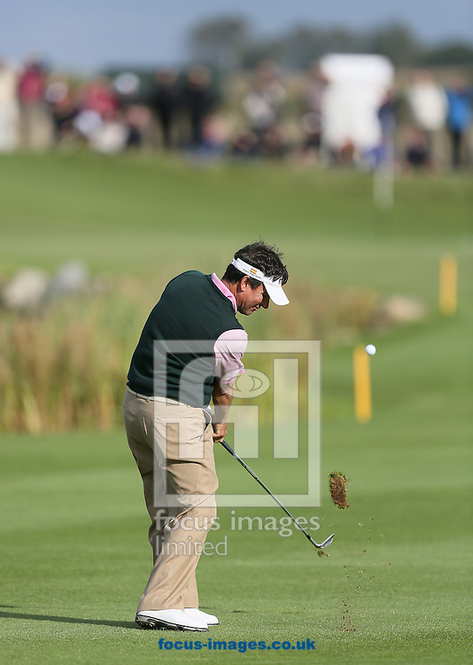 Picture by Paul Gaythorpe/Focus Images Ltd +447771 871632<br /> 06/10/2013<br /> Miguel Angel Martin hits his approach shot to the 12th green during the final round of the English Senior Open at Rockliffe Hall, Darlington.