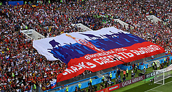 MOSCOW, RUSSIA - Sunday, July 1, 2018: Spain supporters try to prevent Russia fans unveil a huge banner during the FIFA World Cup Russia 2018 Round of 16 match between Spain and Russia at the Luzhniki Stadium. (Pic by David Rawcliffe/Propaganda)