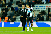 Newcastle United manager Rafael Benitez congratulates Kenedy (#15) of Newcastle United following the Premier League match between Newcastle United and Watford at St. James's Park, Newcastle, England on 3 November 2018.