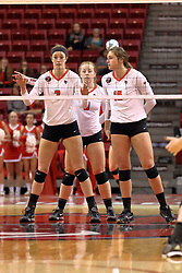 06 November 2015:  Jaelyn Keene(2) and Ashley Rosch(15) on the front row for a serve, Jacqueline Twing(9) in the back during an NCAA women's volleyball match between the Bradley Braves and the Illinois State Redbirds at Redbird Arena in Normal IL (Photo by Alan Look)