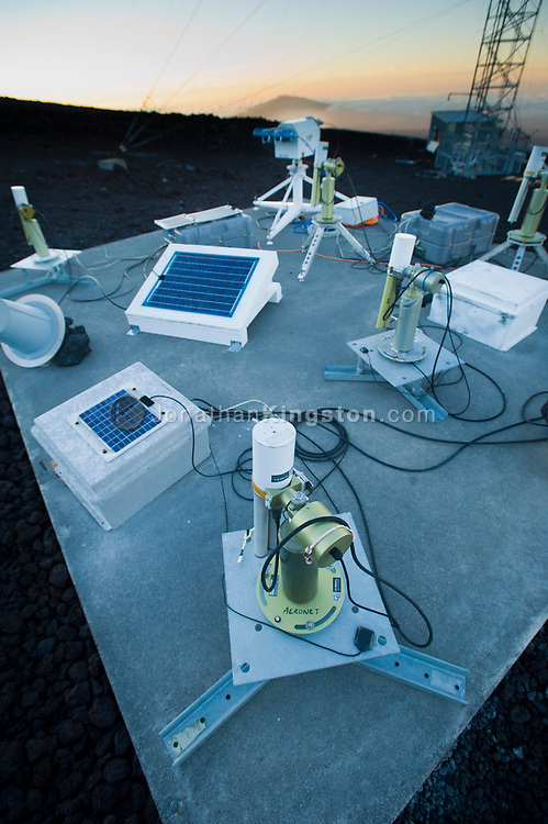 An array of NASA sun photometers at the Mauna Loa Observatory, HIlo, Hawaii.