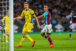 Gaber Dobrovoljc of NK Domzale and Sofiane Feghouli of West Ham during 2nd Leg football match between West Ham United FC and NK Domzale in 3rd Qualifying Round of UEFA Europa league 2016/17 Qualifications, on August 4, 2016 in London, England.  Photo by Ziga Zupan / Sportida