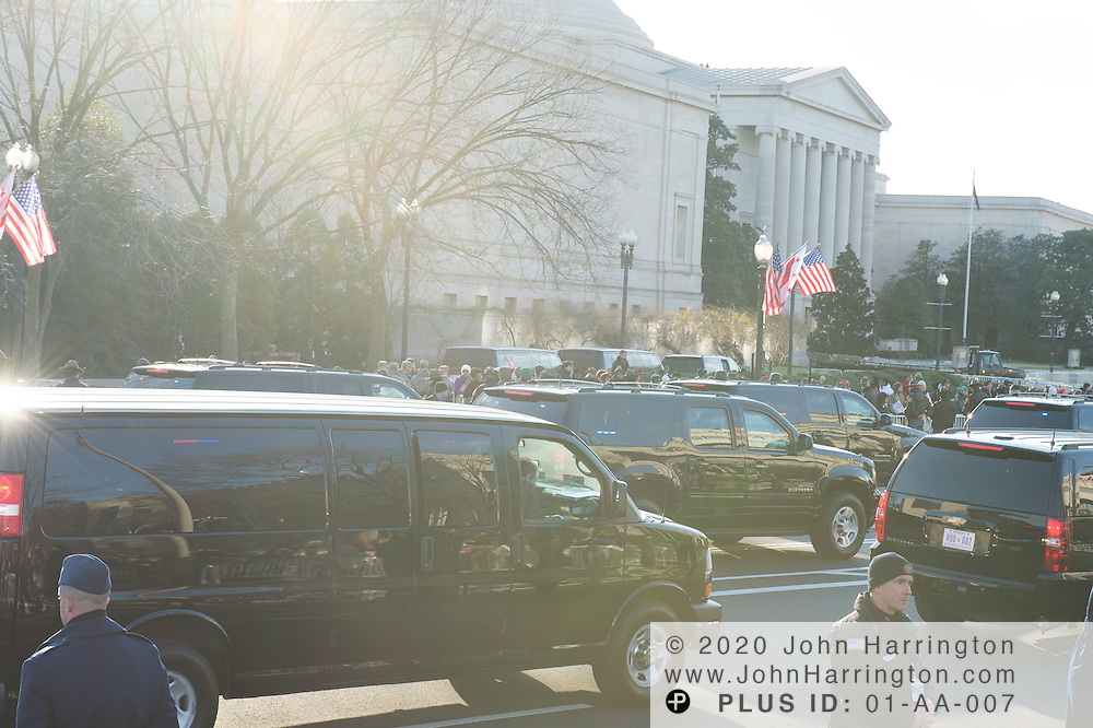 The Vice President's motorcade processes down the parade route during the 57th Presidential Inauguration of President Barack Obama at the U.S. Capitol Building in Washington, DC January 21, 2013.