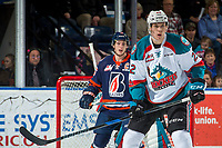 KELOWNA, CANADA - DECEMBER 27: Braydyn Chizen #22 of the Kelowna Rockets looks for the pass against the Kamloops Blazers on December 27, 2017 at Prospera Place in Kelowna, British Columbia, Canada.  (Photo by Marissa Baecker/Shoot the Breeze)  *** Local Caption ***