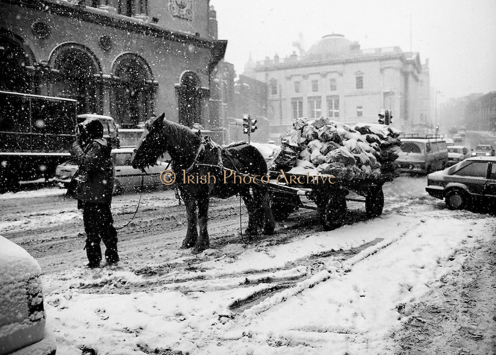 Following unprecedented overnight snow, Dublin city almost comes to a standstill. Even a horse and cart carrying winter fuel is finding progress slow through the snow-covered streets.<br />