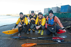 Glen Charles, Olly Jay and Richard Harpham. Scottish Sun sports editor Iain King takes part in a practise session for his charity kayak challenge, in the waters of the harbour at St Abbs..Pic © Michael Schofield...