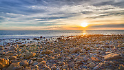 USA, California, Malibu. Sunset as seen from County Line Beach, on the border of Los Angeles and Ventura Counties.