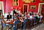 31.MAY.2012. WASHINGTON D.C<br /> <br /> PRESIDENT BARACK OBAMA AND FIRST LADY MICHELLE OBAMA HOST A LUNCH FOR MEMBERS OF THE BUSH FAMILY IN THE RED ROOM OF THE WHITE HOUSE, MAY 31, 2012. SEATED CLOCKWISE FROM THE PRESIDENT ARE: FORMER FIRST LADY BARBARA BUSH, BUCKY BUSH, DORO BUSH KOCH, JENNA BUSH HAGER, MARVIN BUSH, JODY BUSH, FORMER PRESIDENT GEORGE W. BUSH, MRS. OBAMA, FORMER PRESIDENT GEORGE H.W. BUSH, PATTY BUSH, BOBBY KOCH, BARBARA BUSH, MARGARET BUSH, JONATHAN BUSH, AND FORMER FIRST LADY LAURA BUSH.  <br /> <br /> BYLINE: EDBIMAGEARCHIVE.CO.UK<br /> <br /> *THIS IMAGE IS STRICTLY FOR UK NEWSPAPERS AND MAGAZINES ONLY*<br /> *FOR WORLD WIDE SALES AND WEB USE PLEASE CONTACT EDBIMAGEARCHIVE - 0208 954 5968*