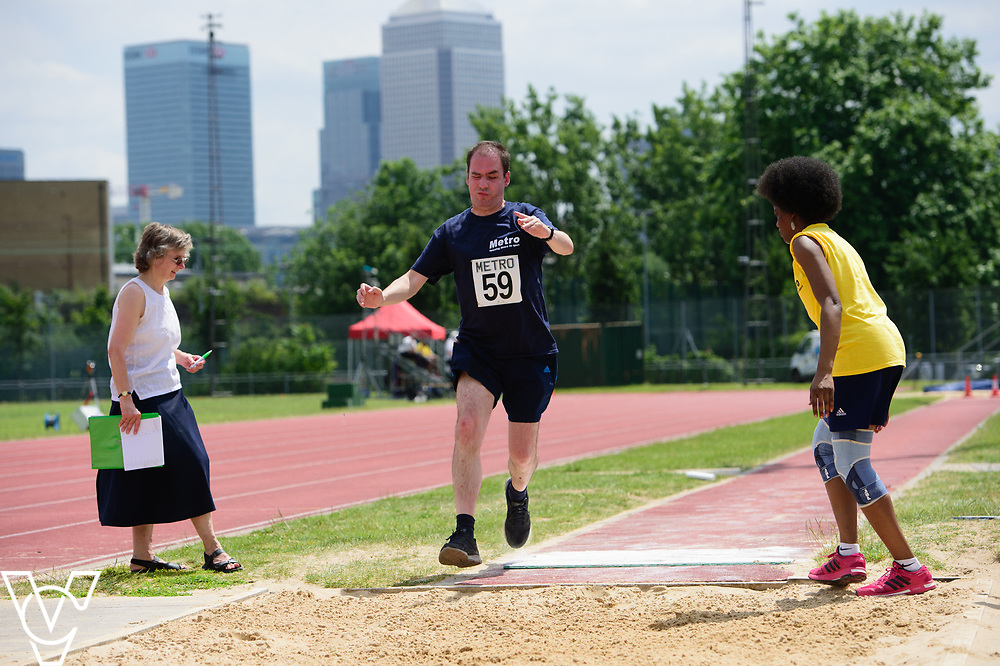 Metro Blind Sport's 2017 Athletics Open held at Mile End Stadium.  Long jump.  Vanja Sudar with guide<br /> <br /> Picture: Chris Vaughan Photography for Metro Blind Sport<br /> Date: June 17, 2017