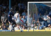 Photo: Ashley Pickering.<br /> Southend United v Colchester United. Coca Cola Championship. 06/04/2007.<br /> Jamie Cureton of Colchester (white) scores his second goal (0-2)