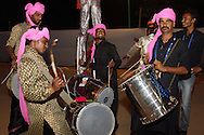 Drummers performing outside the stadium during the first semi-final match of the Karbonn Smart Champions League T20 (CLT20) 2013  between the Rajasthan Royals and the Chennai Super Kings held at the Sawai Mansingh Stadium in Jaipur on the 4th October 2013. Photo by Jacques Rossouw-CLT20-SPORTZPICS<br /> <br /> Use of this image is subject to the terms and conditions as outlined by the CLT20. These terms can be found by following this link:<br /> <br /> http://sportzpics.photoshelter.com/image/I0000NmDchxxGVv4