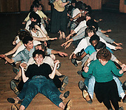 Teenagers doing 'Oops Upside Your Head' dance, UK, 1984