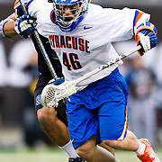 April 01,  2012:  Syracuse midfielder Ricky Buhr (46) holds off a defender during the Big City Classic at  Met Life Stadium in East Rutherford, New Jersey . Duke defeated Syracuse 12-10. (Credit Image: © Kostas Lymperopoulos/Cal Sport Media)
