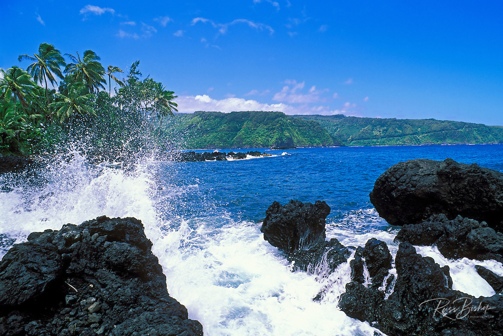 The Hana Highway and Pacific coastline from Ke'anae Peninsula, Maui, Hawaii