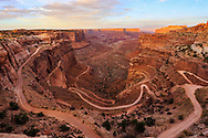 The Shafer Trail Road at sunset, seen from the Shafer Canyon Overlook at Canyonlands National Park, Utah, USA