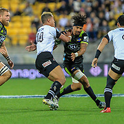 Ardie Savea tackles Hosea Saumaki during the Super Rugby union game between Hurricanes and Sunwolves, played at Westpac Stadium, Wellington, New Zealand on 27 April 2018.   Hurricanes won 43-15.