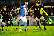 Eastleigh's James Constable and Bolton Wanderers David Wheater during the The FA Cup third round match between Eastleigh and Bolton Wanderers at Silverlake Stadium, Ten Acres, Eastleigh, United Kingdom on 9 January 2016. Photo by Graham Hunt.
